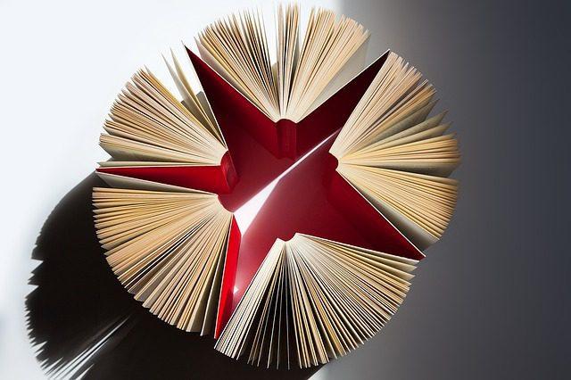 Five opened books forms a star-like shape
