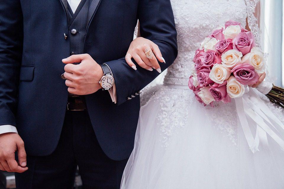 couple in wedding dress