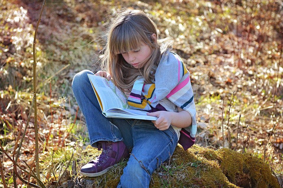 a children reading a book